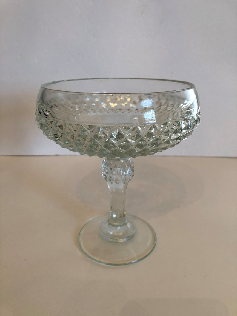 Vintage Diamond Cut Glass Candy Dish