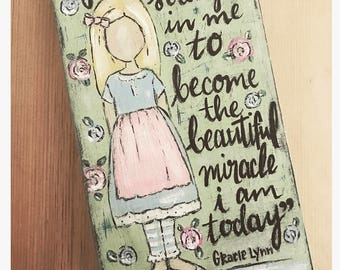 """Little Girls """"Littles"""" custom wood painting with quote of choice Matilda Jane Clothing Inspired"""
