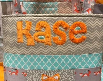 Custom Personalized One of a Kind Baby Fox Patchwork Diaperbag