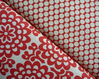 Amy Butler Fabric Bundle, Lotus Collection Wallflower and Full Moon Polka Dot in Cherry , 1 yard total