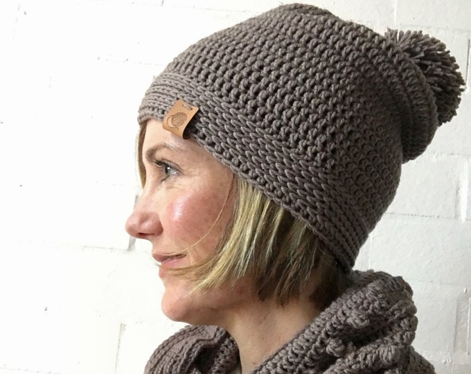 Featured listing image: Merino Pom Pom Beanie Superfine Australian Wool Cocoa Brown Womens natural Australian wool hat Gift for Her Womens Accessory