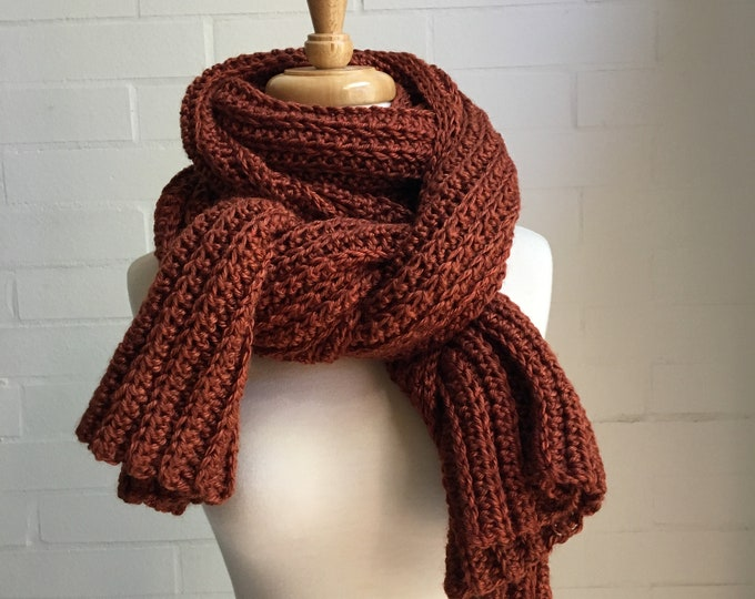 Featured listing image: Oversized Wrap Scarf, chunky handmade crochet rust burnt orange