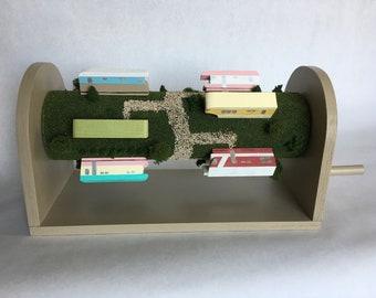 Interactive Handmade Whimsical Rotating Trailer Park Sculpture