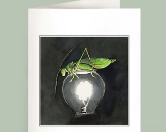 Oh Yes She Did - Katydid - Set of 6 Note Cards