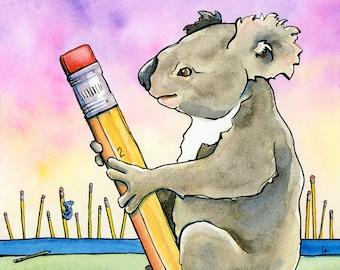 Koala Forest - 10x10 - Original Framed Watercolor