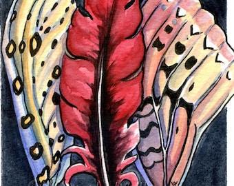 Wings - Original Framed Watercolor