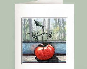 Mater - Set of 6 Note Cards - Tomato on a window sill