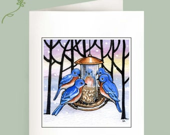 Set of 6 Note Cards - Family Meeting - bluebirds in winter