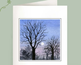 Set of 6 Note Cards - Touching the Moon - Winter trees