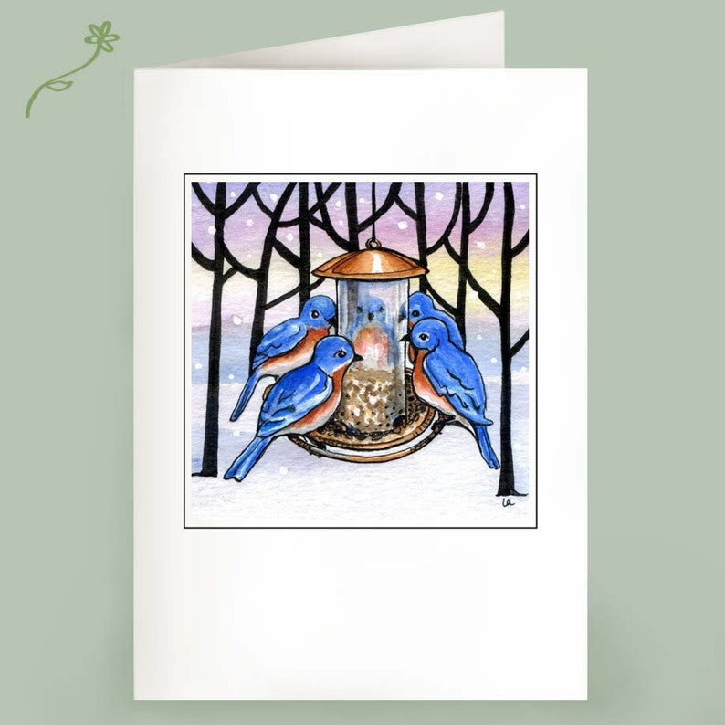 Set of 6 Note Cards  Family Meeting  bluebirds in winter image 0