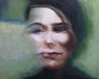 Between Faces - Original Oil Painting- 12x12 - blurry portrait