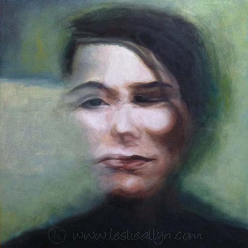 Between Faces  Original Oil Painting 12x12  blurry portrait image 0