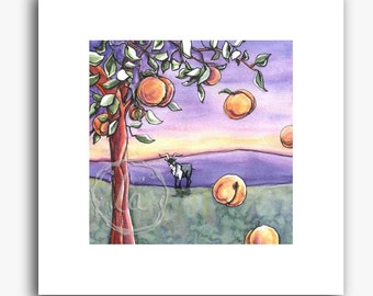 The Goat and the Peach Tree - small square print