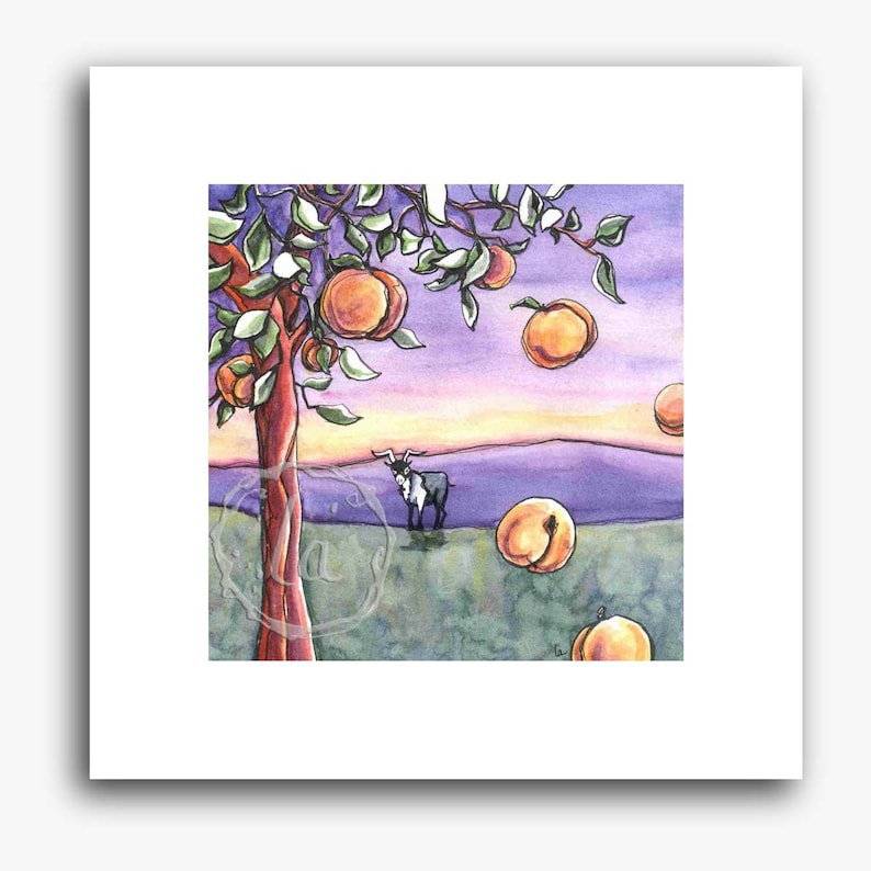The Goat and the Peach Tree  small square print image 0