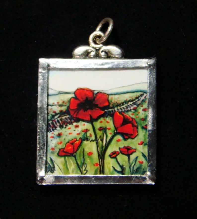 Bloomin' Crazy  Pendant  poppies and tracks image 1