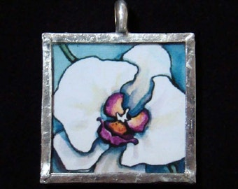 White Orchid - Pendant - soldered art and glass