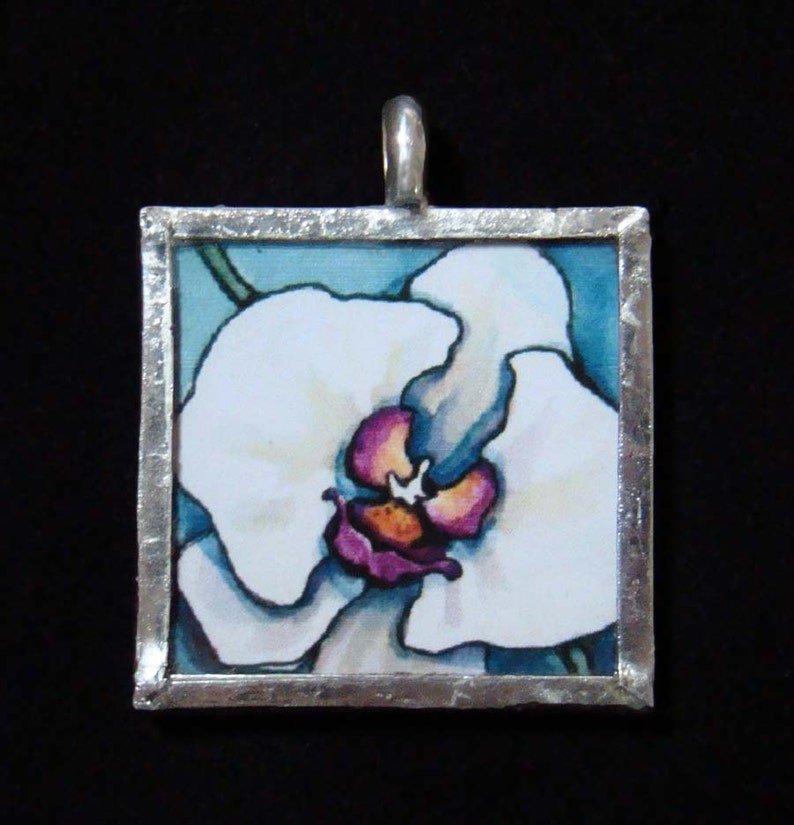 White Orchid  Pendant  soldered art and glass image 0