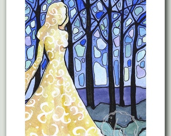 Dream of the Forest - Print of woman in blue woods