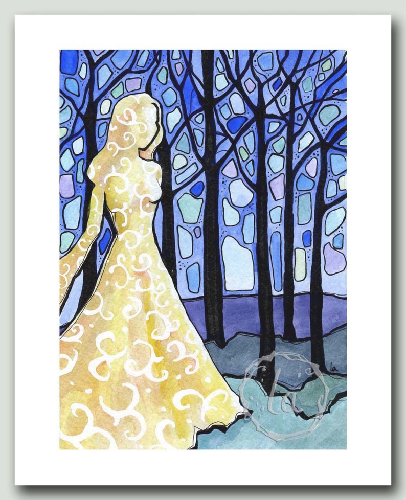 Dream of the Forest  Print of woman in blue woods image 0