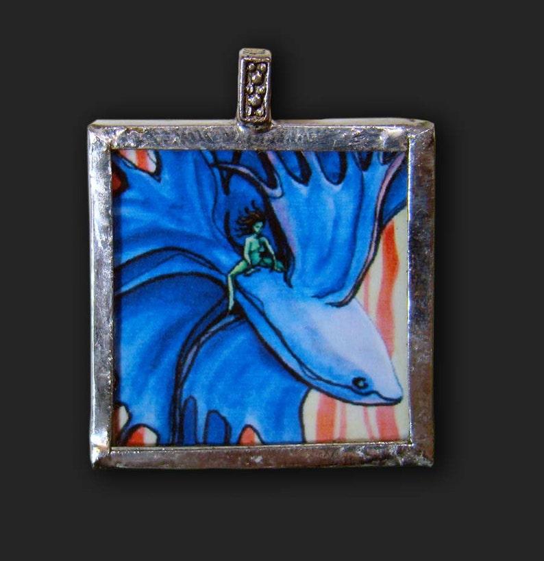Betta  Pendant  soldered art and glass image 1