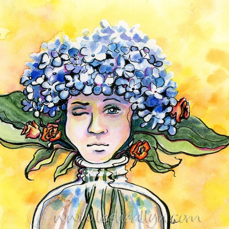 Thinking Cap  Hydrangea Bouquet Original Framed Watercolor image 0
