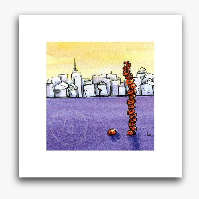 Skyscraper print  small  ladybug tower image 0