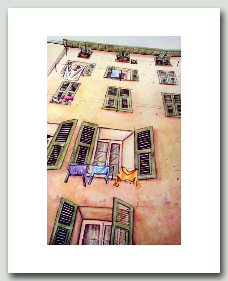 How Nice  Print of Laundry in France image 0