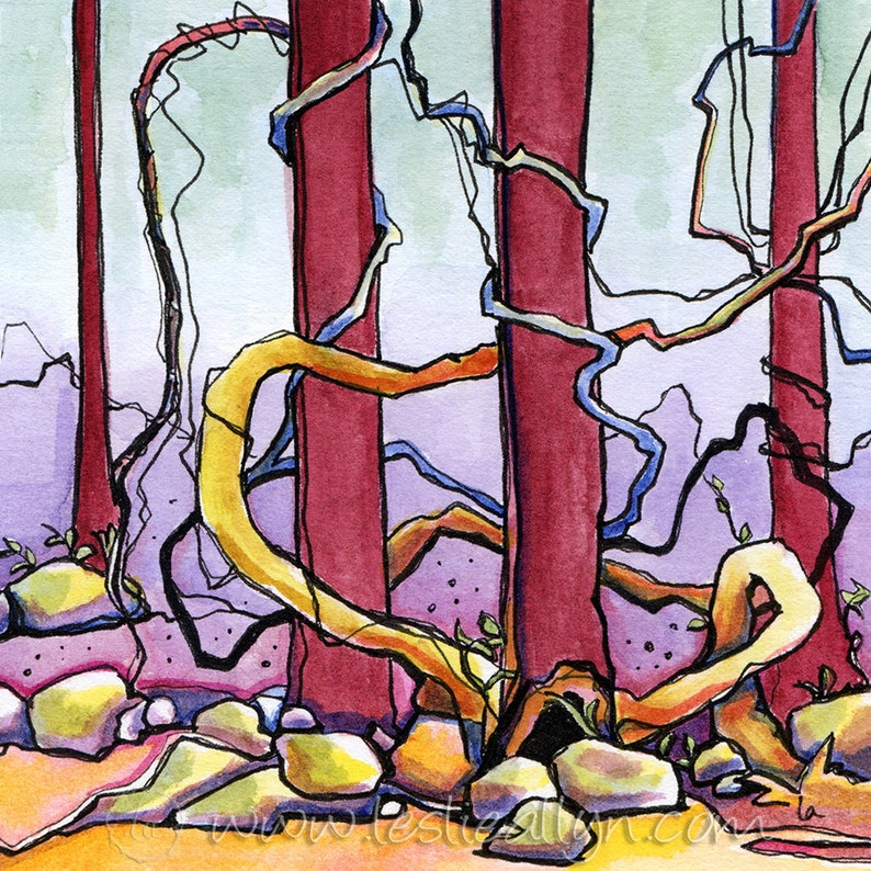 Gnarly  Vined Forest Original Framed Watercolor image 0