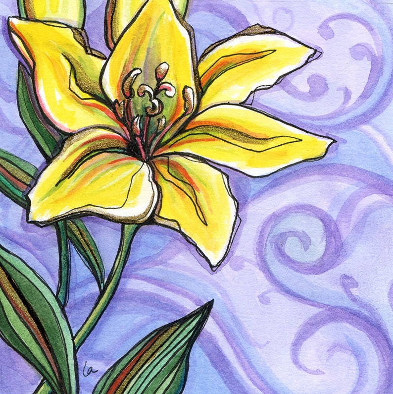 Gilded Lily  8x8 Original Framed Watercolor of a Yellow Lily image 0