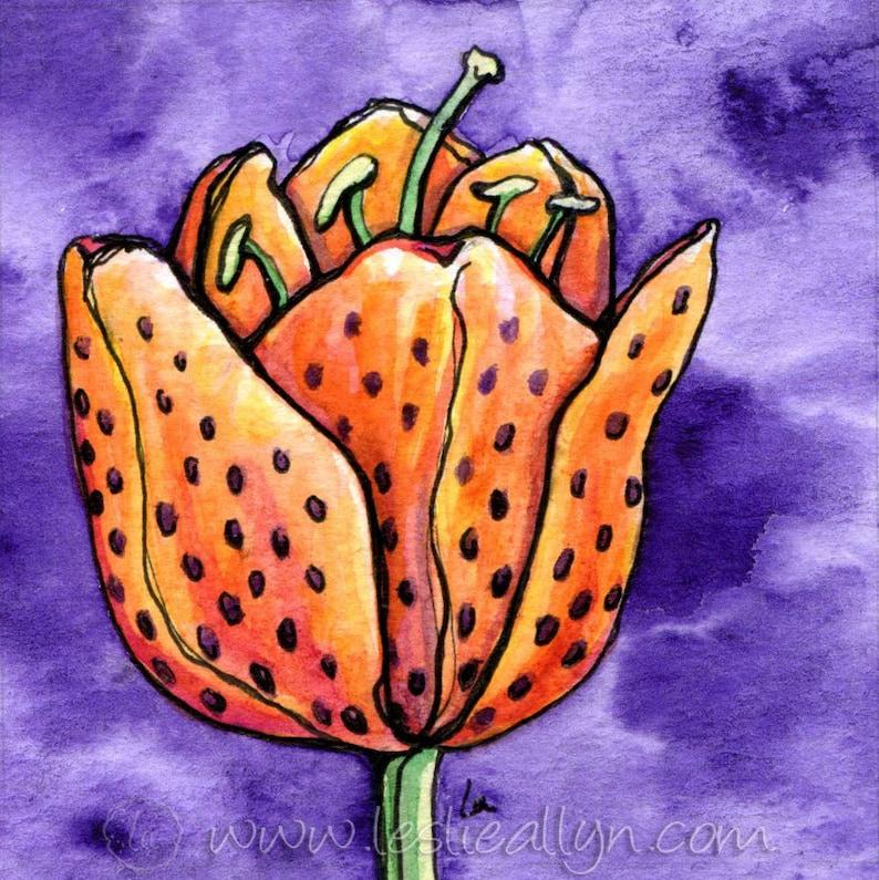 Tu-Lily  6x6 Original Framed Watercolor image 0