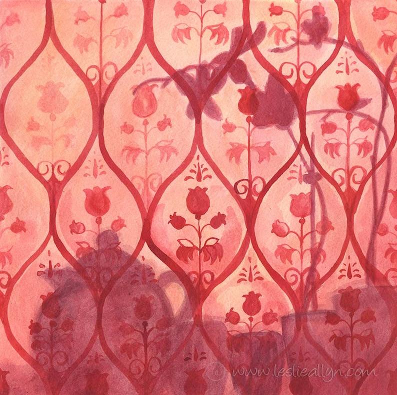 Orchid Tea  14x14 Original Watercolor red shadows image 0