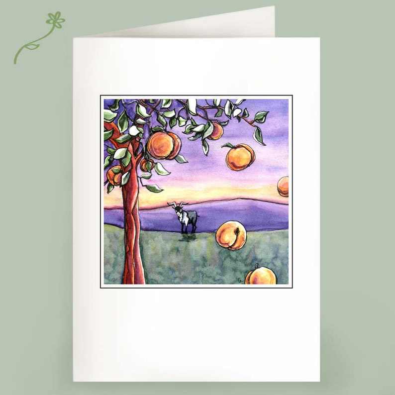 The Goat and the Peach Tree  Set of 6 Note Cards image 0