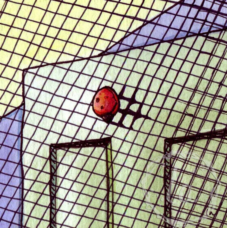 Ladybug Shadow  6x6 Original Framed Watercolor  Ladybug on image 0