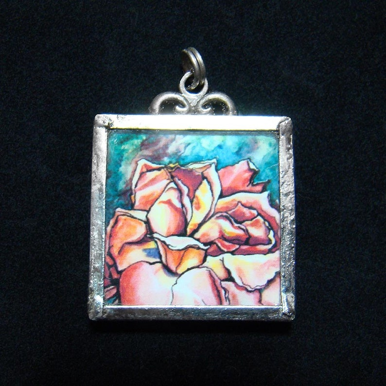 Petal Luna  Pendant  soldered art and glass image 0