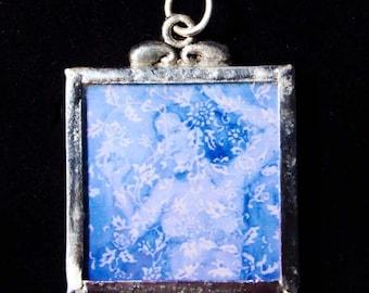 Wallflower (in blue) - Pendant - soldered art print