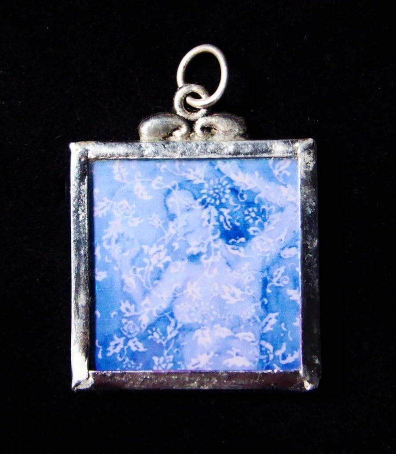Wallflower in blue  Pendant  soldered art print image 1