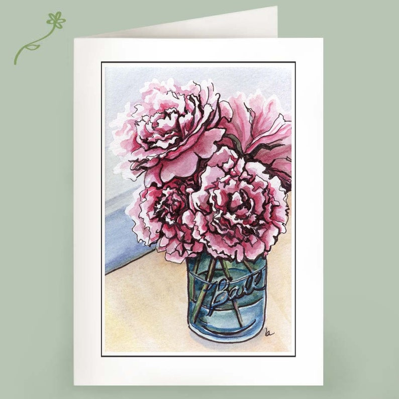 Peonies  Set of 6 Note Cards image 0