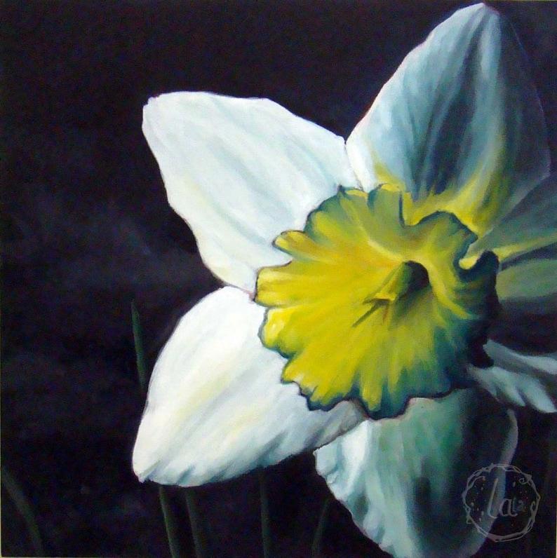 Finally Spring  Original Oil  12x12  Daffodil in light image 0