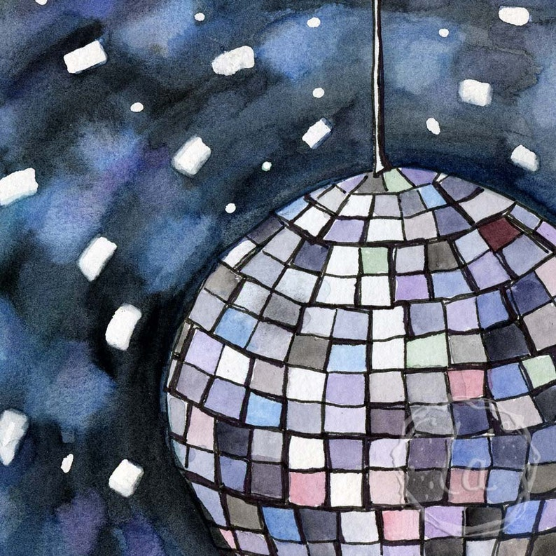 Burn this Disco Out  8x8 Original Framed Watercolor  Disco image 0