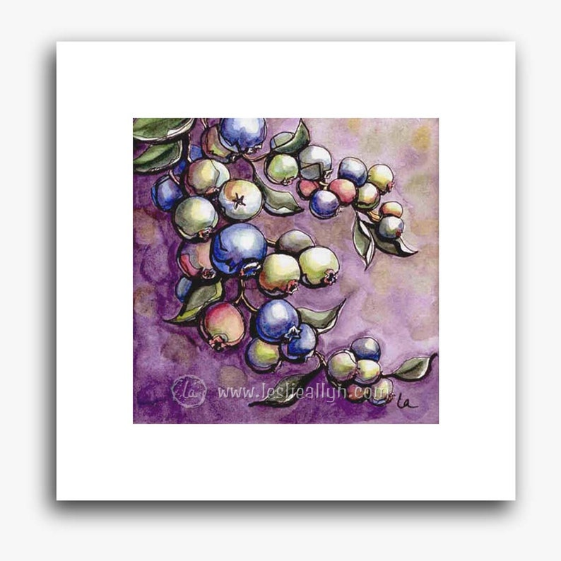 Blueberries print  small square image 0