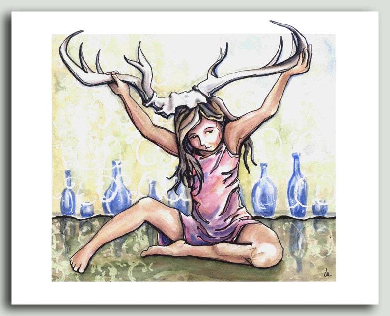 Antlers  Girl playing print image 0