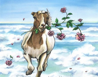 On the Loose - Original Watercolor -goat and roses