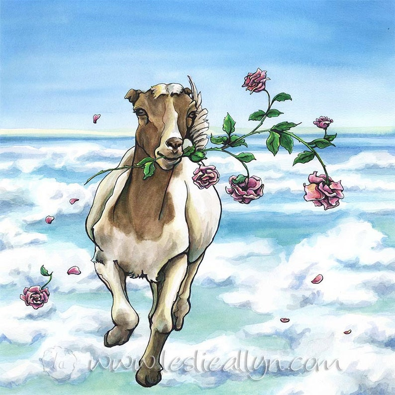 On the Loose  Original Watercolor goat and roses image 0
