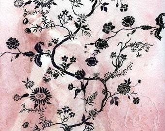 Wallflower in Rose 12x12 Original Framed Watercolor