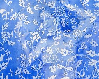 Wallflower in Blue 12x12 Original Framed Watercolor