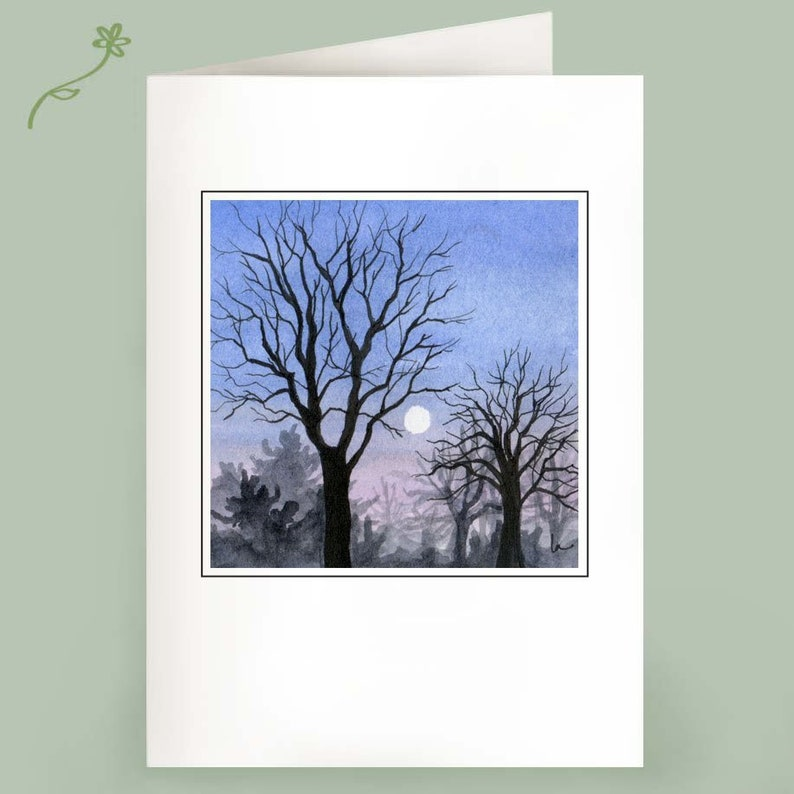 Set of 6 Note Cards  Touching the Moon  Winter trees image 0