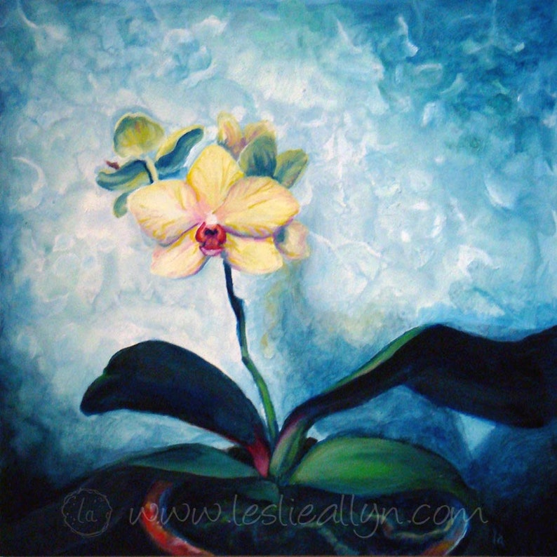 Good Omen  Original Oil Painting 12x12  Orchid image 0