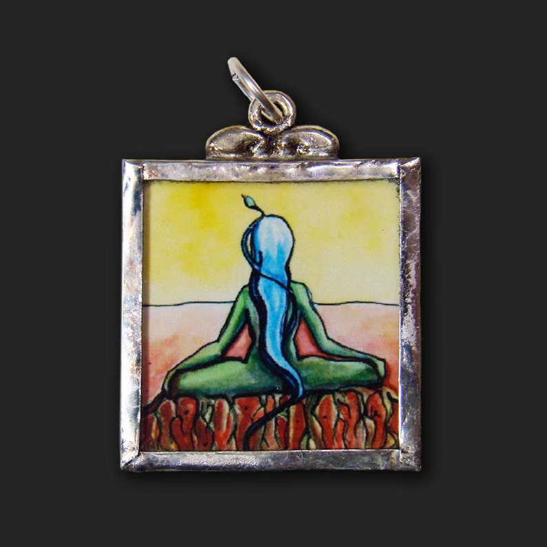 Rooted  Pendant  soldered art and glass image 1