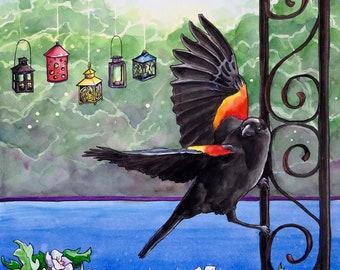 Poised - Original Watercolor -red winged blackbird