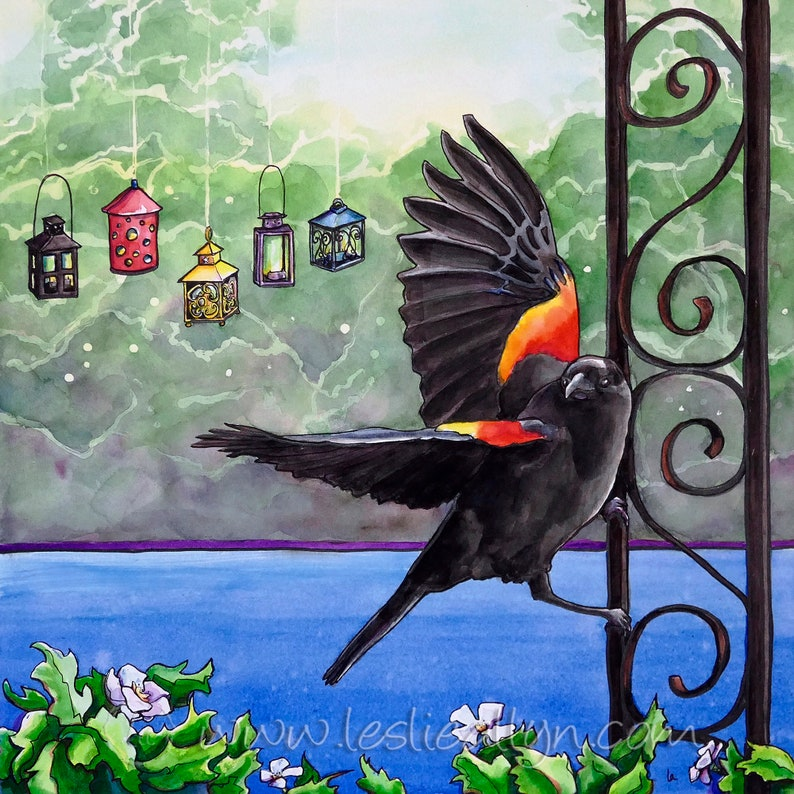 Poised  Original Watercolor red winged blackbird image 0